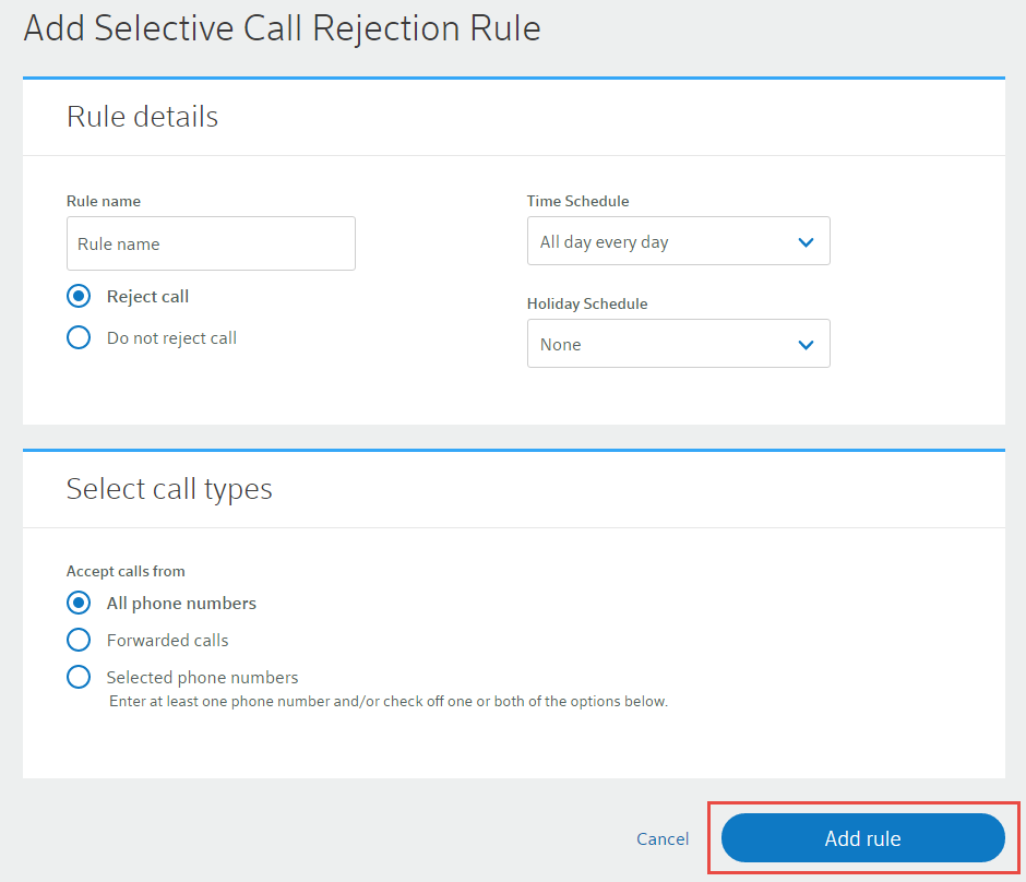 rejection phone number