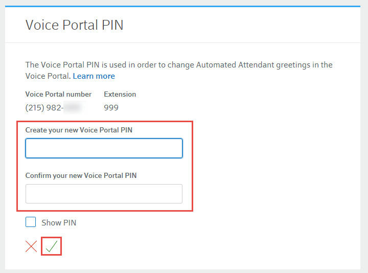 Update your business voiceedge voicemail and voice portal pins create and confirm your new voice portal pin select the checkmark to confirm m4hsunfo