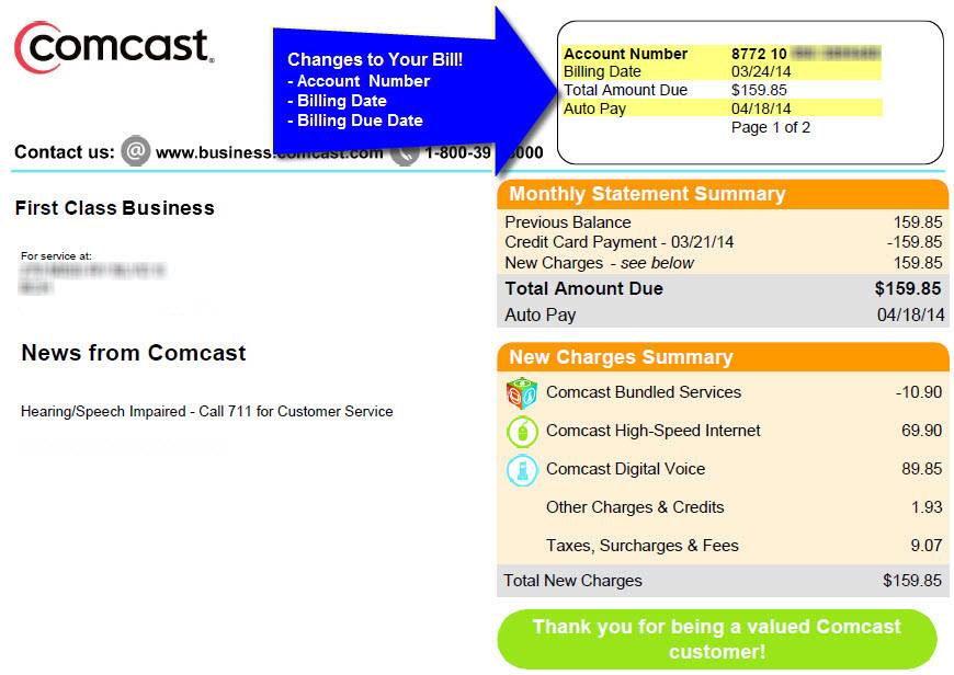 Comcast Business Billing System Update  Comcast Business